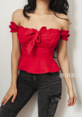 Off Shoulder Ruffle Blouse Top In Red