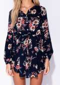 Floral Print Button Front Mini Dress In Navy