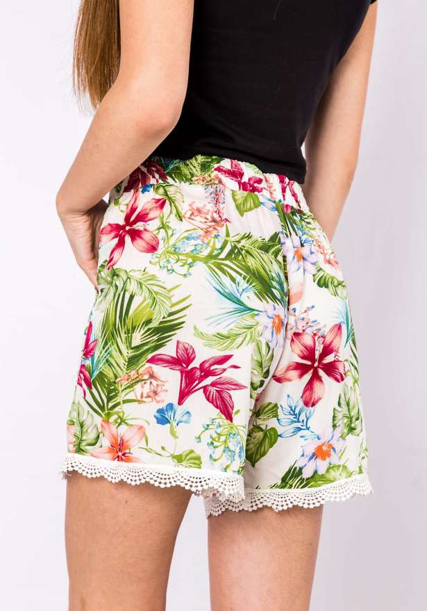 Paradise Floral Shorts in White