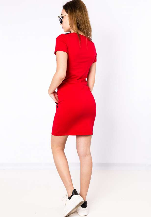 Short Sleeve Bodycon Dress in Red
