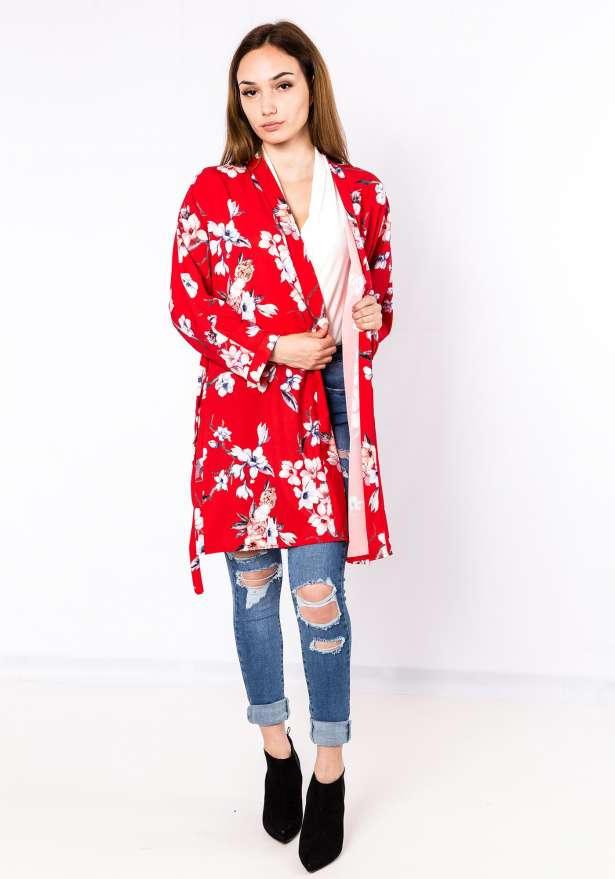 Short Floral Kimono In Red