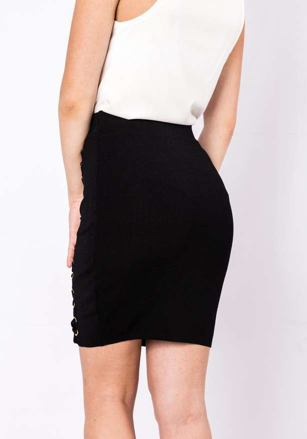 Lace Up Pencil Skirt In Black