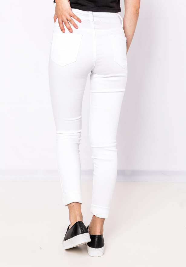 Daisy Knee Cut Jeans In White