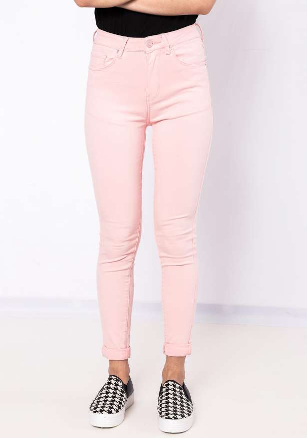 Bae High Waist Jeans In Baby Pink