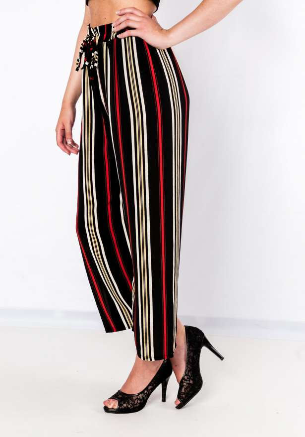 Tie Front Striped Pants In Black