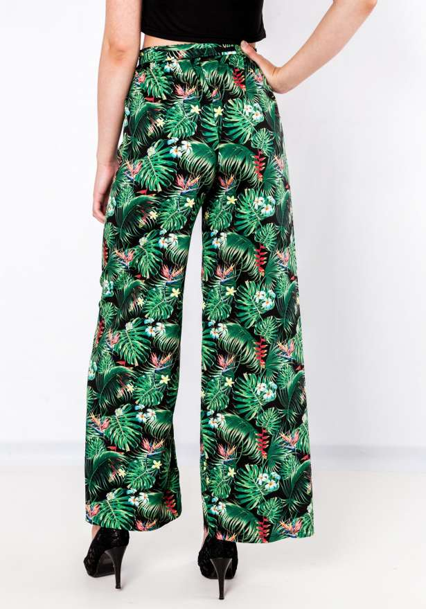 Tie Front Exotic Floral Pants In Black