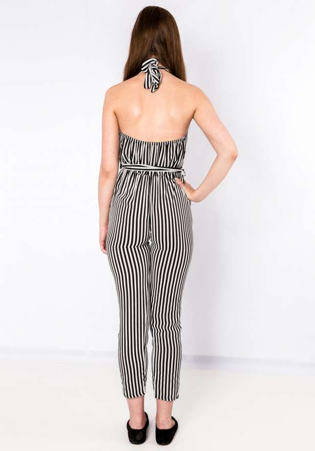 Black Striped Neck Tie Jumpsuit
