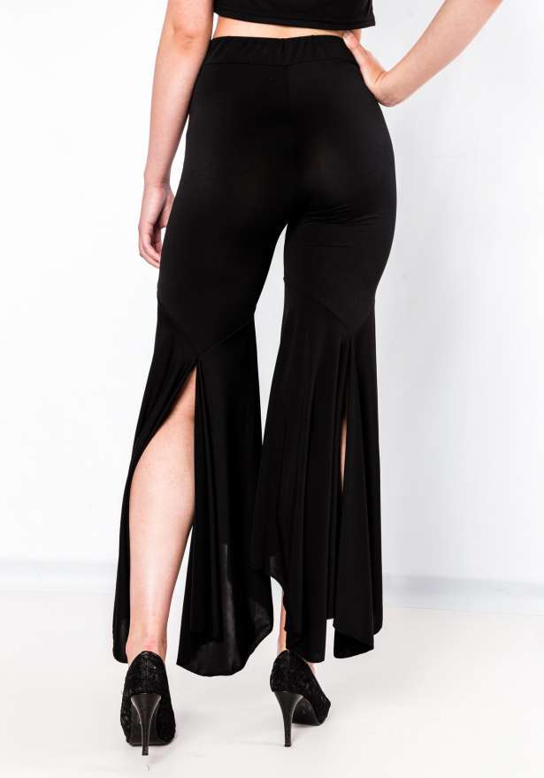 High Waisted Bell Bottom Pants In Black