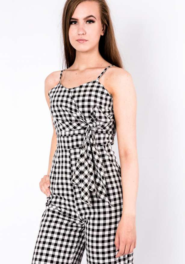 Checkered Stripe Jumpsuit In White
