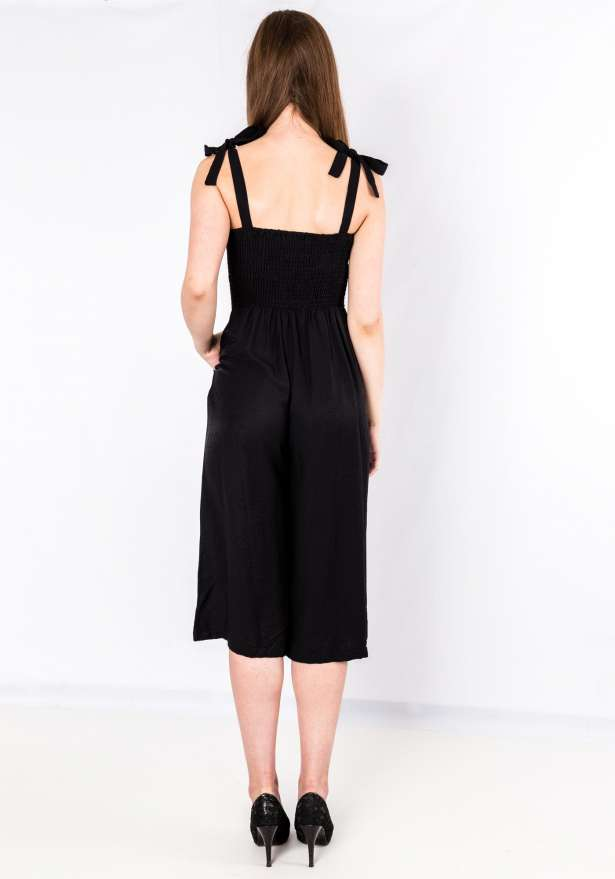 Button Up Tie Strap Jumpsuit In Black