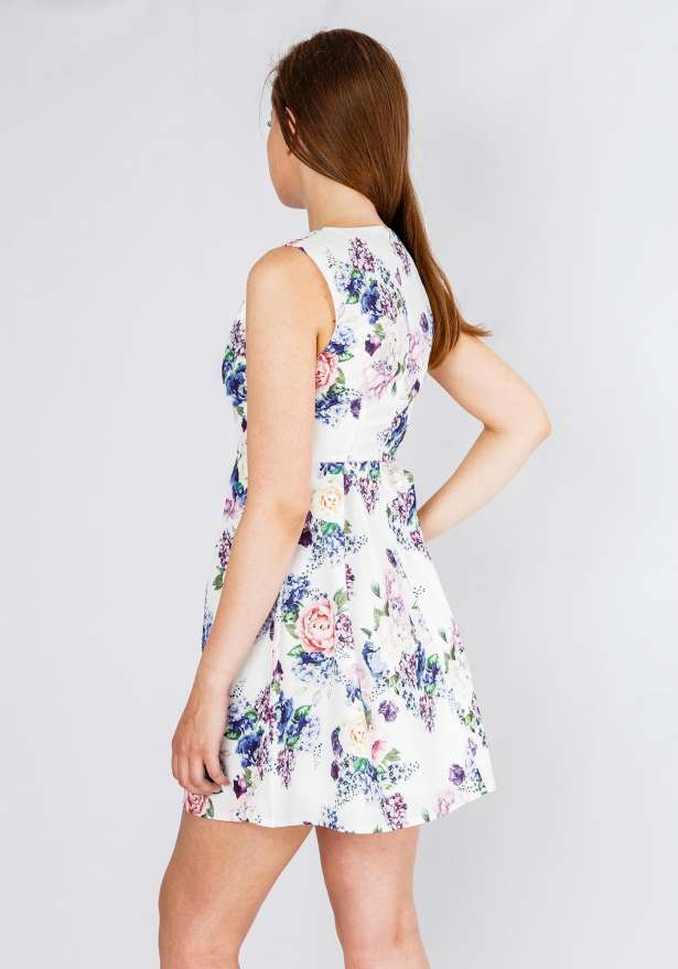 Sleeveless Floral Dress In White