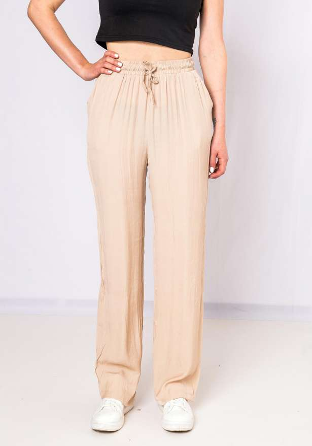 Straight Fit Flowy Pants In Beige