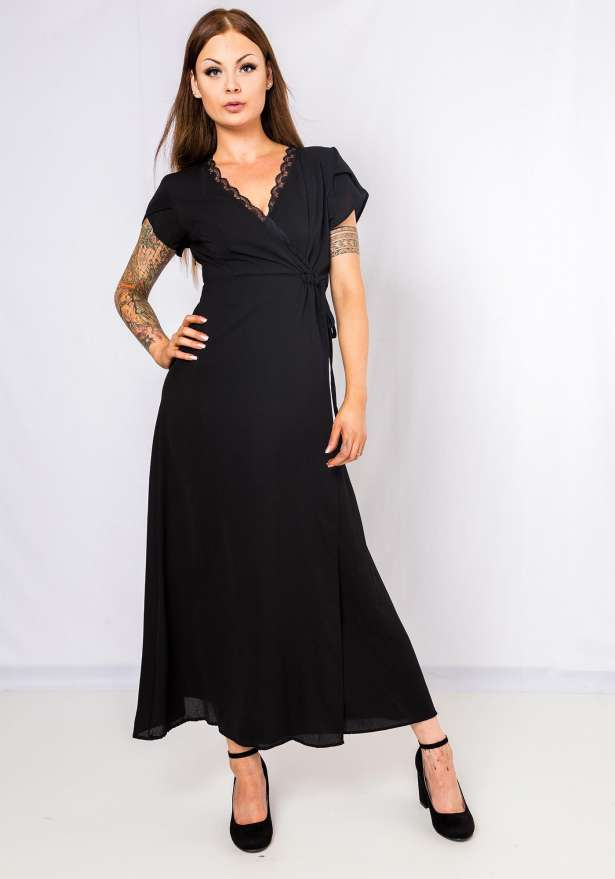 Maxi Dress Lace Detail In Black