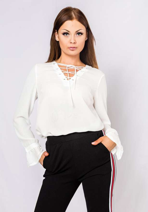 Long Sleeve Lace Tie Blouse In White