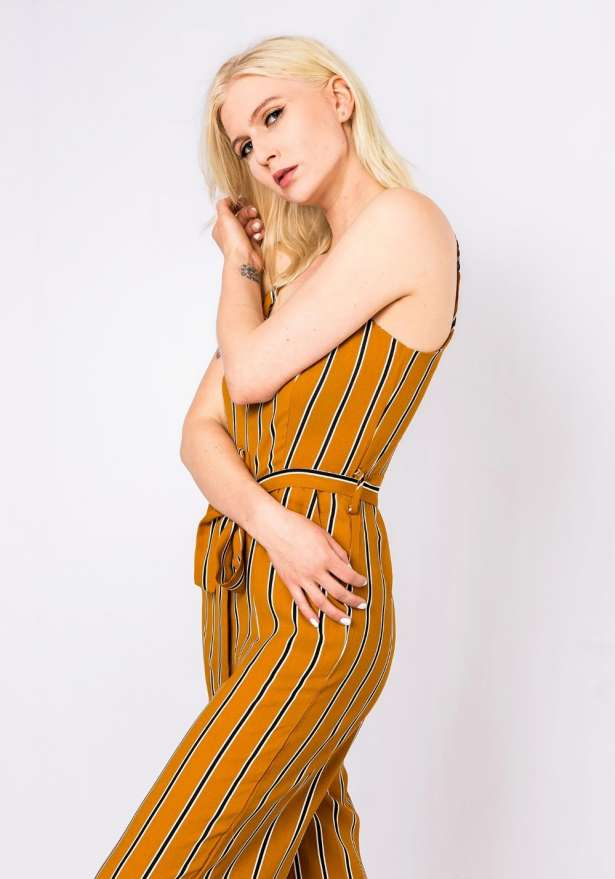 Chic Striped Jumpsuit In Mustard