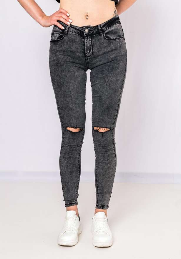 Katy Knee Cut Jeans In Grey