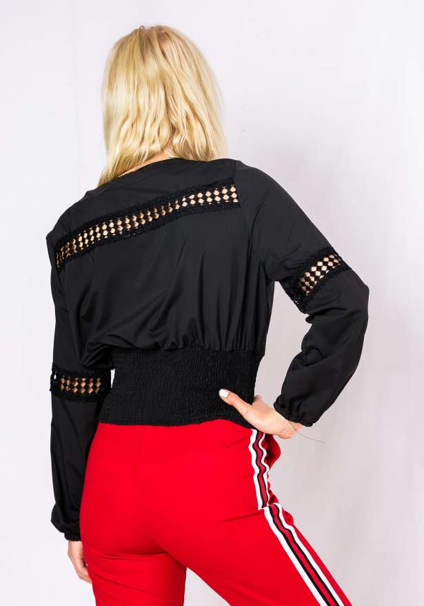 Boho Sun Long sleeve Blouse In Black