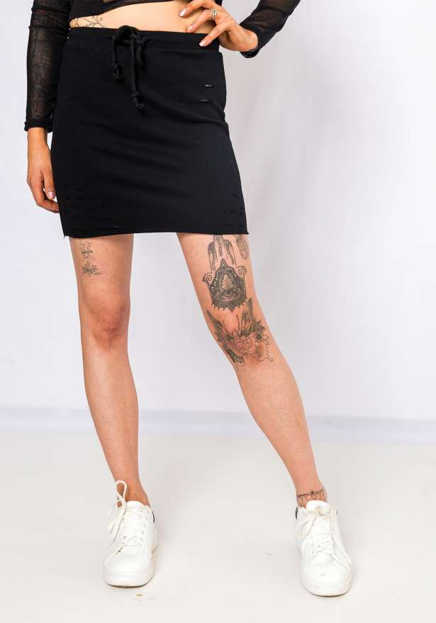Distressed Tie Front Skirt In Black