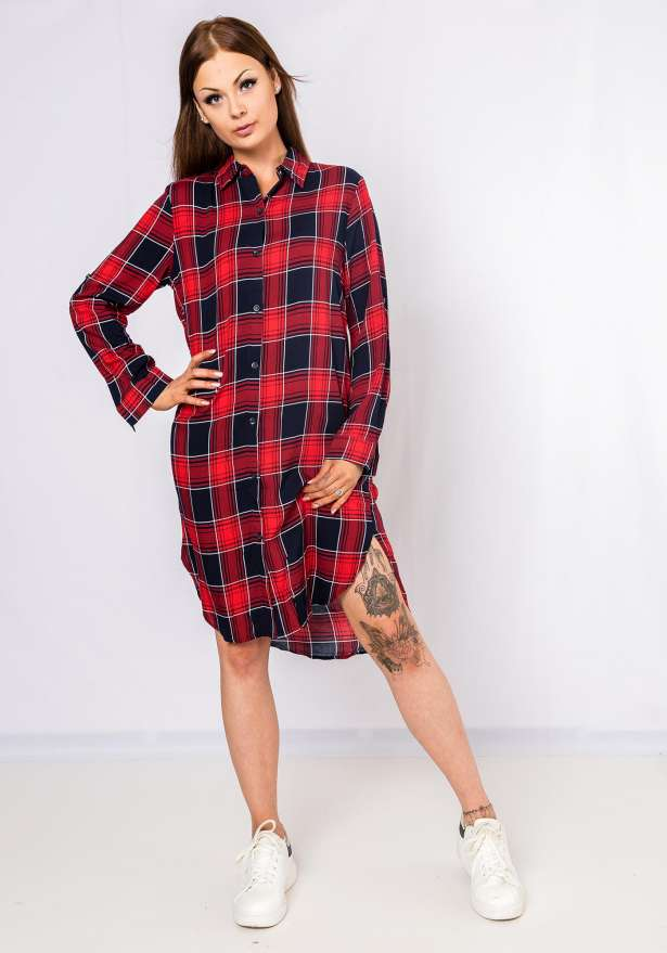 Checkered Button Up Dress In Red