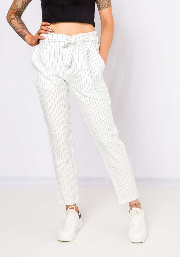 Pinstriped High Tied Up Pants In White