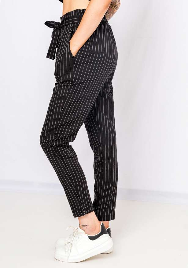 Pinstriped High Tied Up Pants In Black