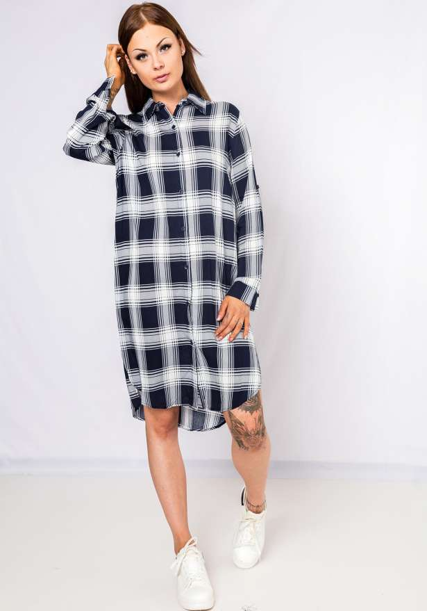 Checkered Button Up Dress In Navy