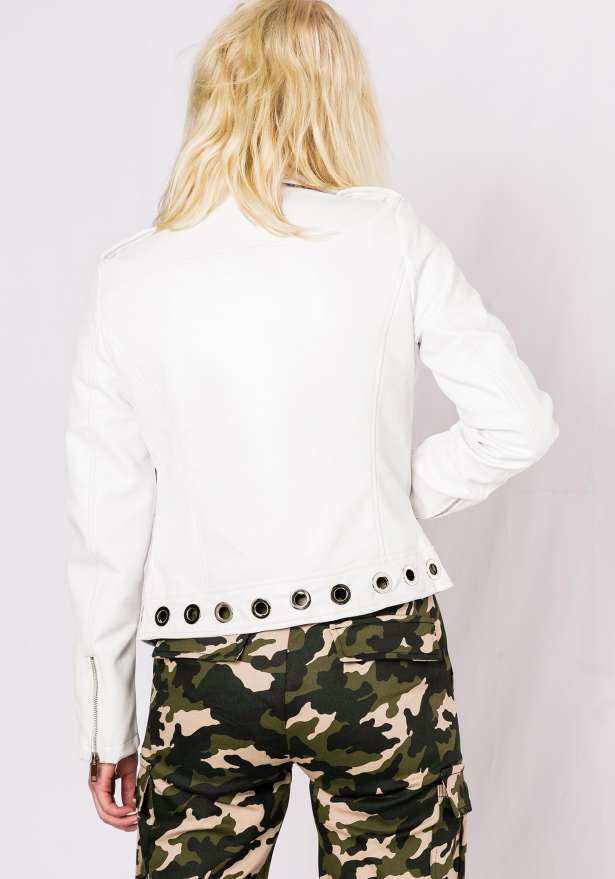 Wild Youth Faux Leather Jacket In White