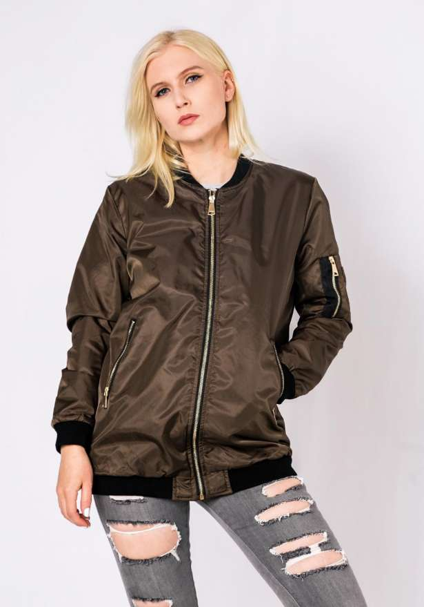 Bomber Jacket Midi Length In Army Green