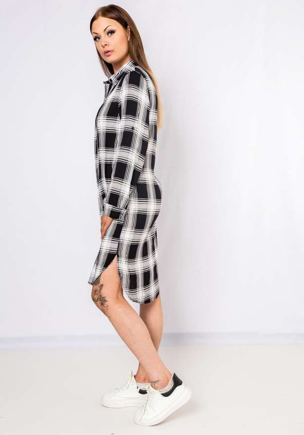 Checkered Button Up Dress In Black