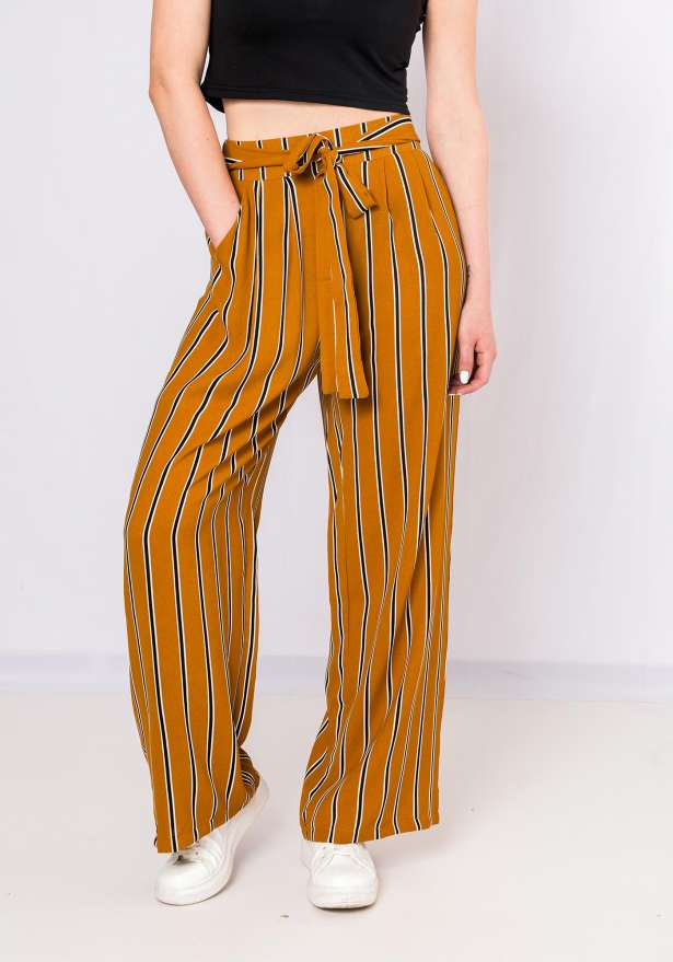 Tres Chic Striped Pants In Mustard