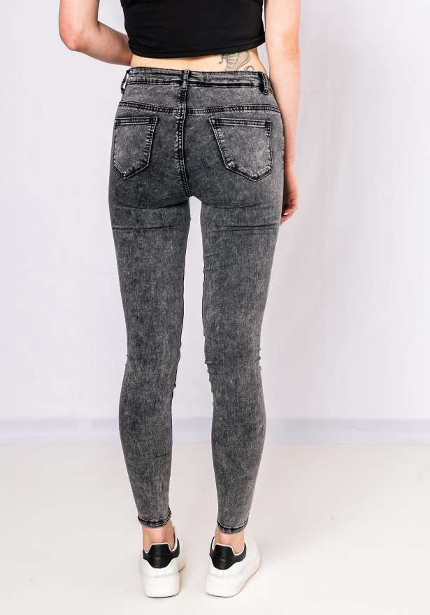 Keke Stone Washed Jeans In Grey