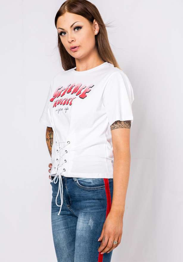 Science Rocket Lace Front T-Shirt In White