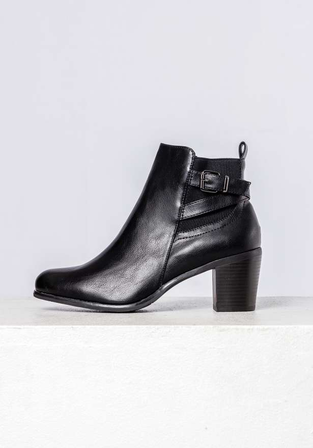 Maya Belted Ankle Boots In Black