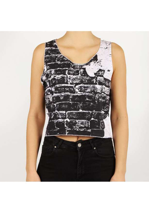 Wall Crop Moto Tank Top In Black