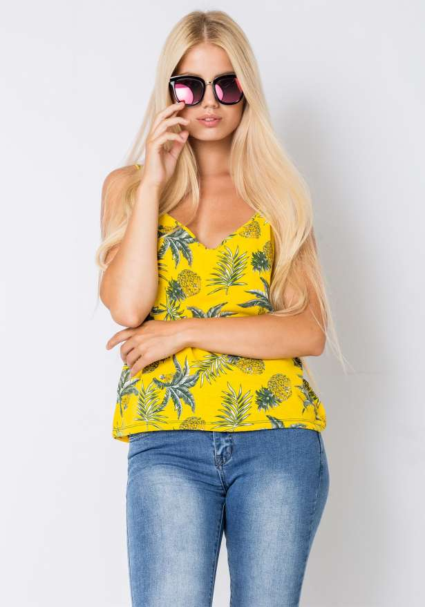 Pineapple Strap Top In Yellow
