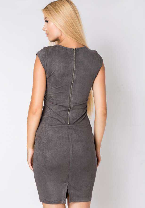 Sleeveless Bodycon Suede Dress In Grey