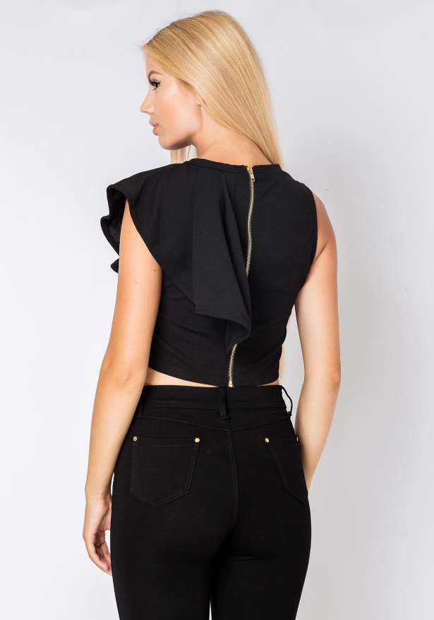 Sleeveless Frill Top In Black