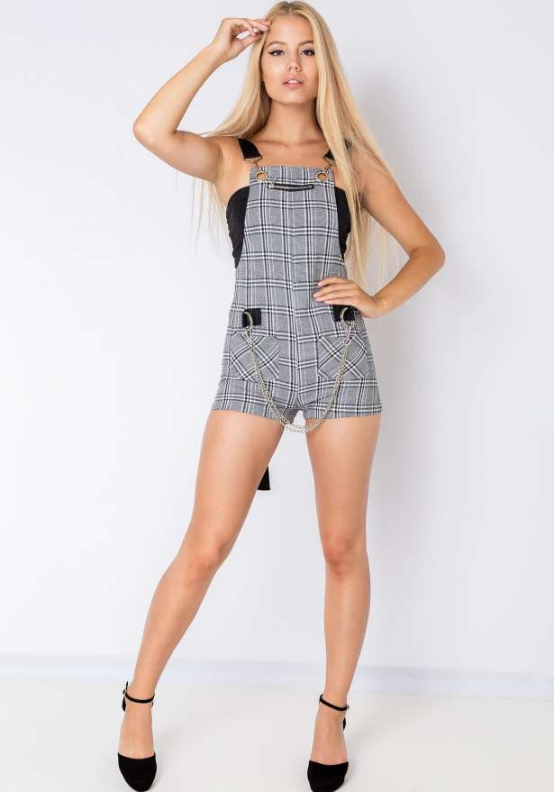 Plaid Chic Belted Strap Jumpsuit In Grey