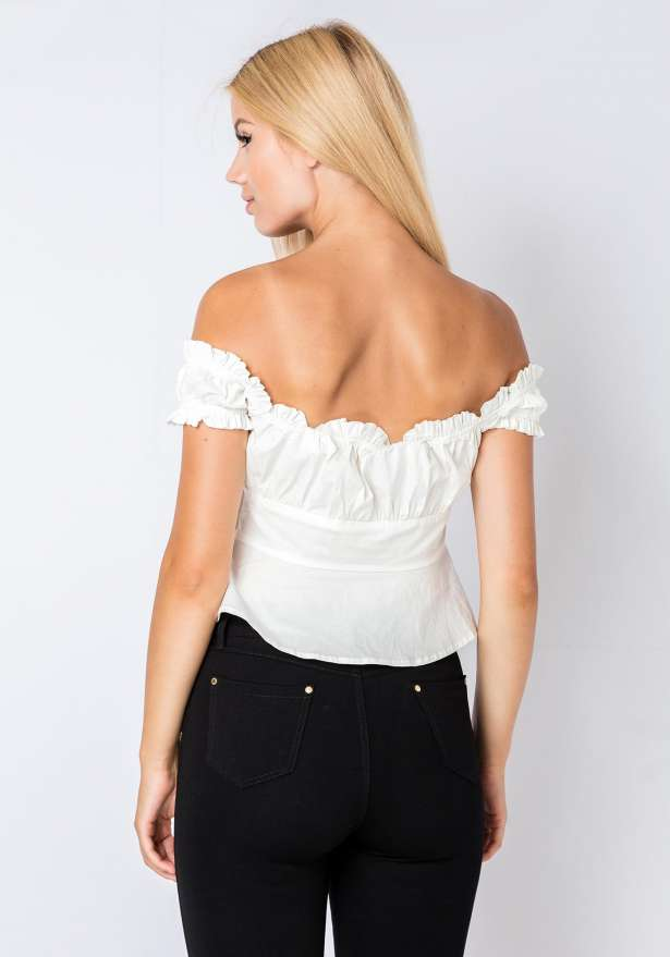 Off Shoulder Ruffle Blouse Top In White