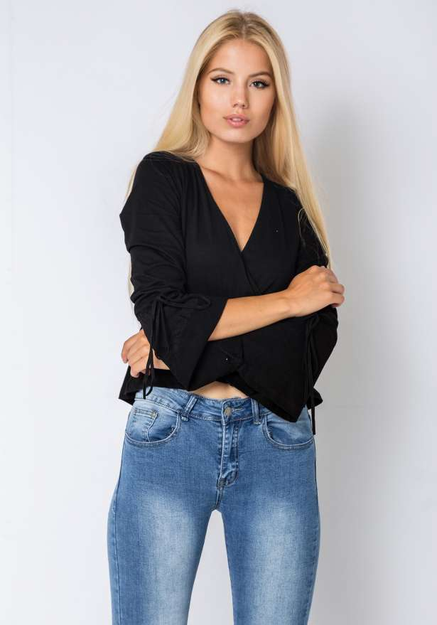 Bell Long Sleeve Frill Hem Blouse In Black