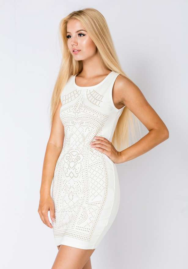 Sleeveless Bodycon Dress Studs White