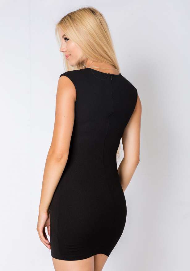 Sleeveless Bodycon Lace Detail Dress In Black