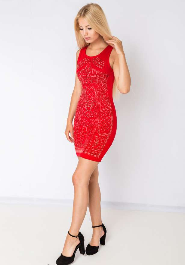 Sleeveless Bodycon Dress Studs Red