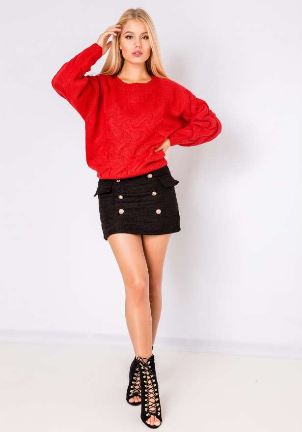 Nea Long Sleeve Comfy Jumper In Red
