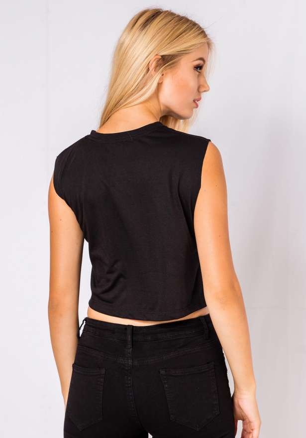 Mooncake Moto Crop Top In Black