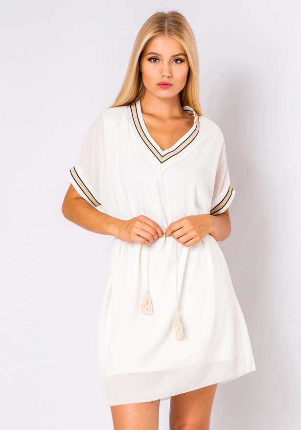 Cute Sheer Shirt Dress In White