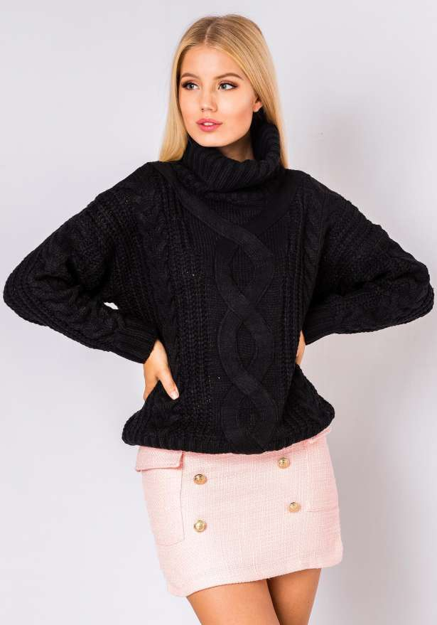 Amy Long Sleeve Comfy Jumper In Black