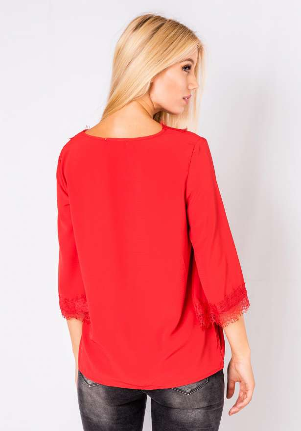 Long Sleeve Lace Detail Blouse In Red