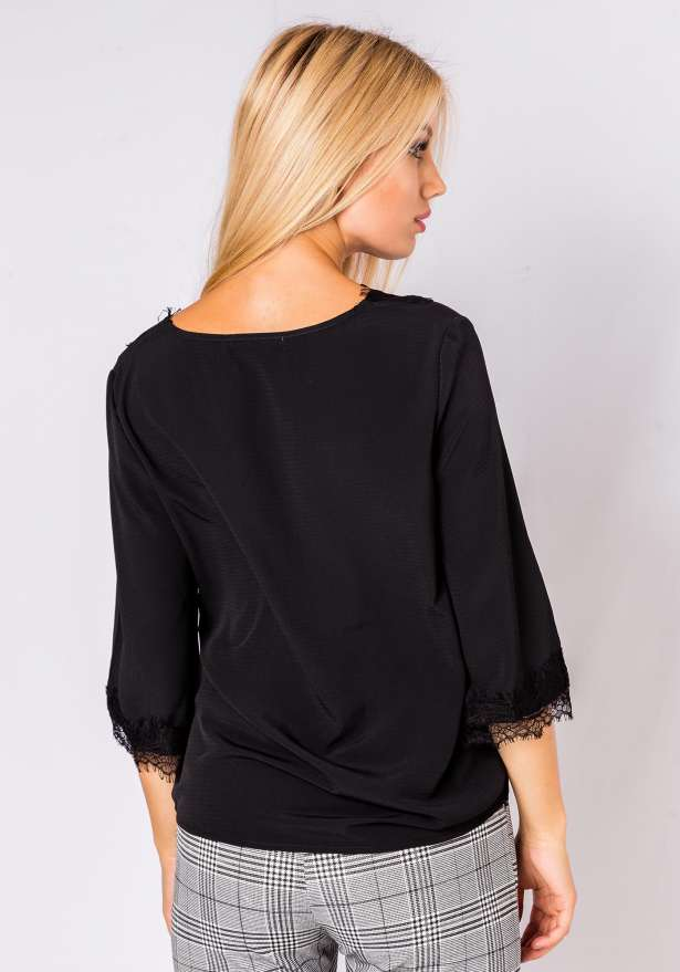 Long Sleeve Lace Detail Blouse In Black