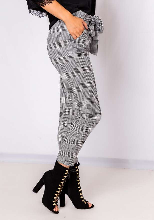 Tie Front Chic Pants Plaid In Grey